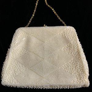 The Richere ivory BEADED Wedding/Evening bag EUC